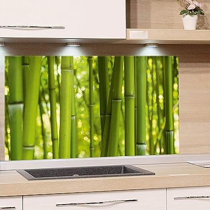 GRAZDesign Küchen-Spritzschutz Glas, Bild-Motiv Bambus grün ...