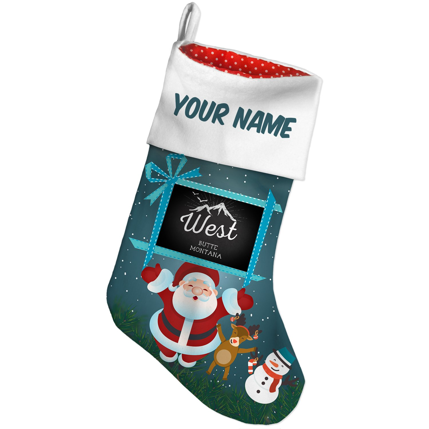 Amazon.com: Christmas Stocking Mountains chalkboard West Butte ...