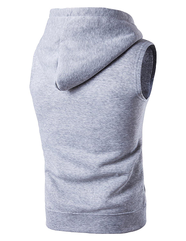 YCHENG Homme Encapuchonné T-Shirt sans Manches Jogging Sport Fitness Gilet with Pockets Gris 2