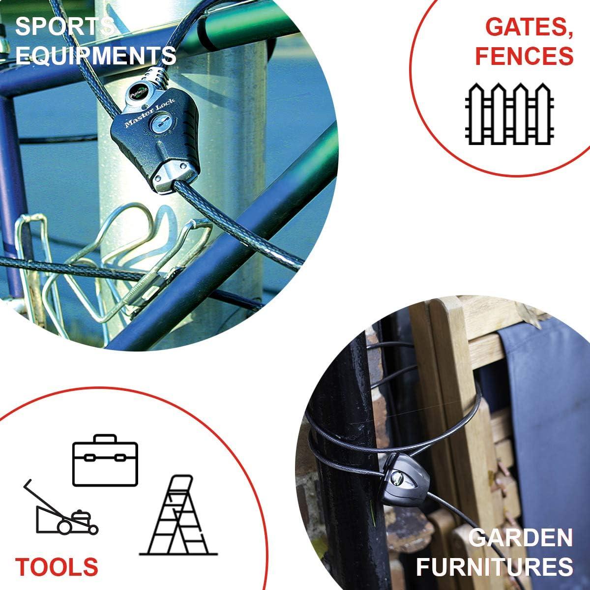 Python - Ideal f/ür Sportausr/üstung Master Lock 8418EURD Verstellbares Kabelschloss mit Sch/üsselschloss Werkzeuge und Gartenm/öbel Kabel einstellbar von 30 cm bis 1,8 m