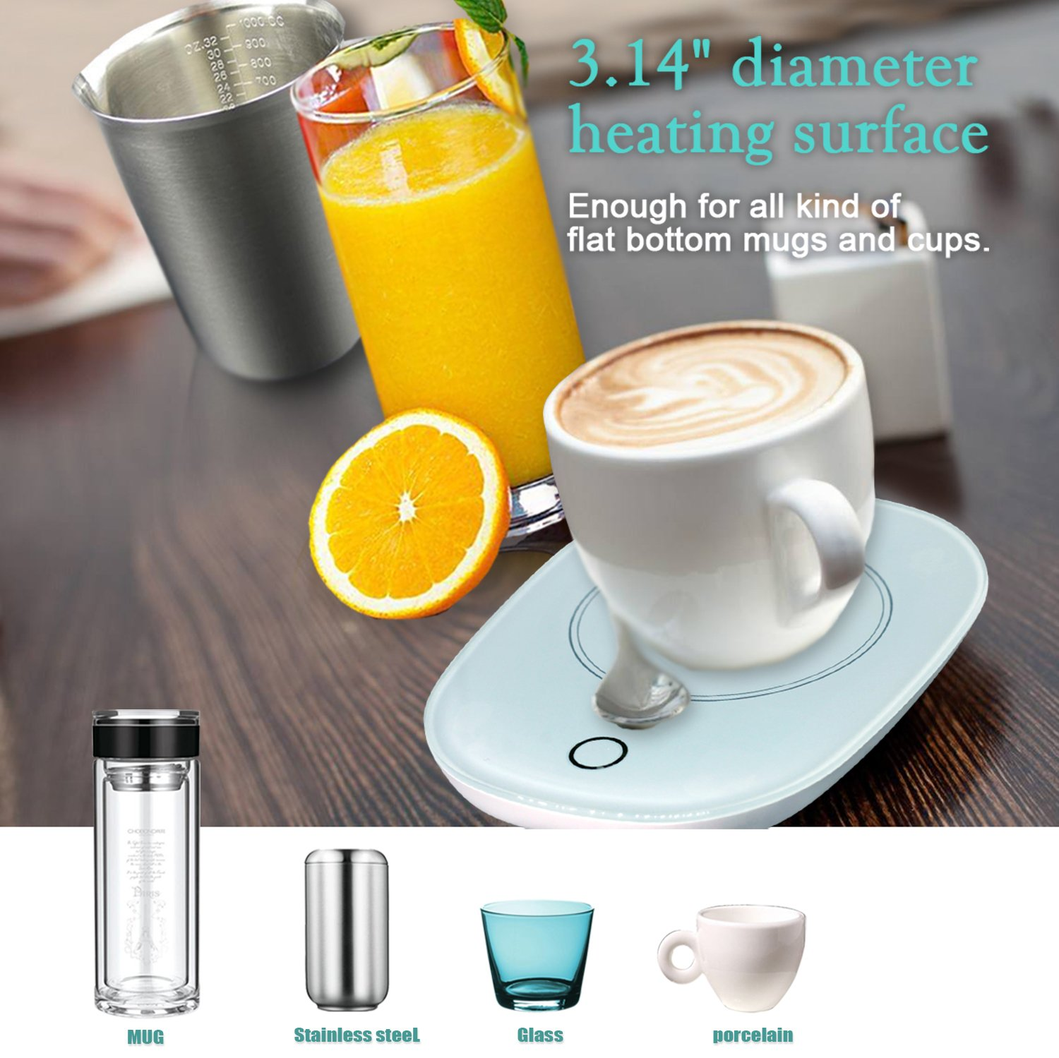 Mug Warmer Coffee Warmer with Automatic Shut Off to Keep Temperature Up to 131℉/55℃ with a Silicone Mug Cover Safely Use for Office/Home to Warm Coffee Tea Milk Candle Heating Wax