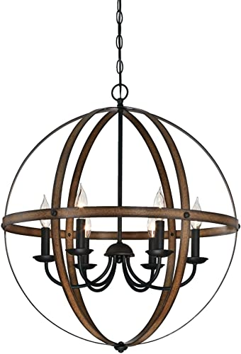 Westinghouse Lighting 6333600 Stella Mira Six-Light Indoor Chandelier, Barnwood and Oil Rubbed Bronze Finish Renewed