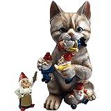 by Mark & Margot - Mischievous Cat Garden Gnome Statue Figurine - Best Art Décor for Indoor Outdoor Home Or Office (One Size,