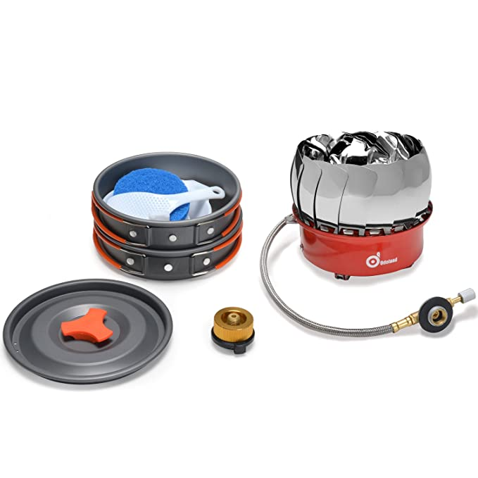 Kit de camping utensilios de cocina con mini estufa de camping - Kit ODOLAND Cookware que acampa Kit Mejor 1-2 Persona de efecto panorámico para hacer ...