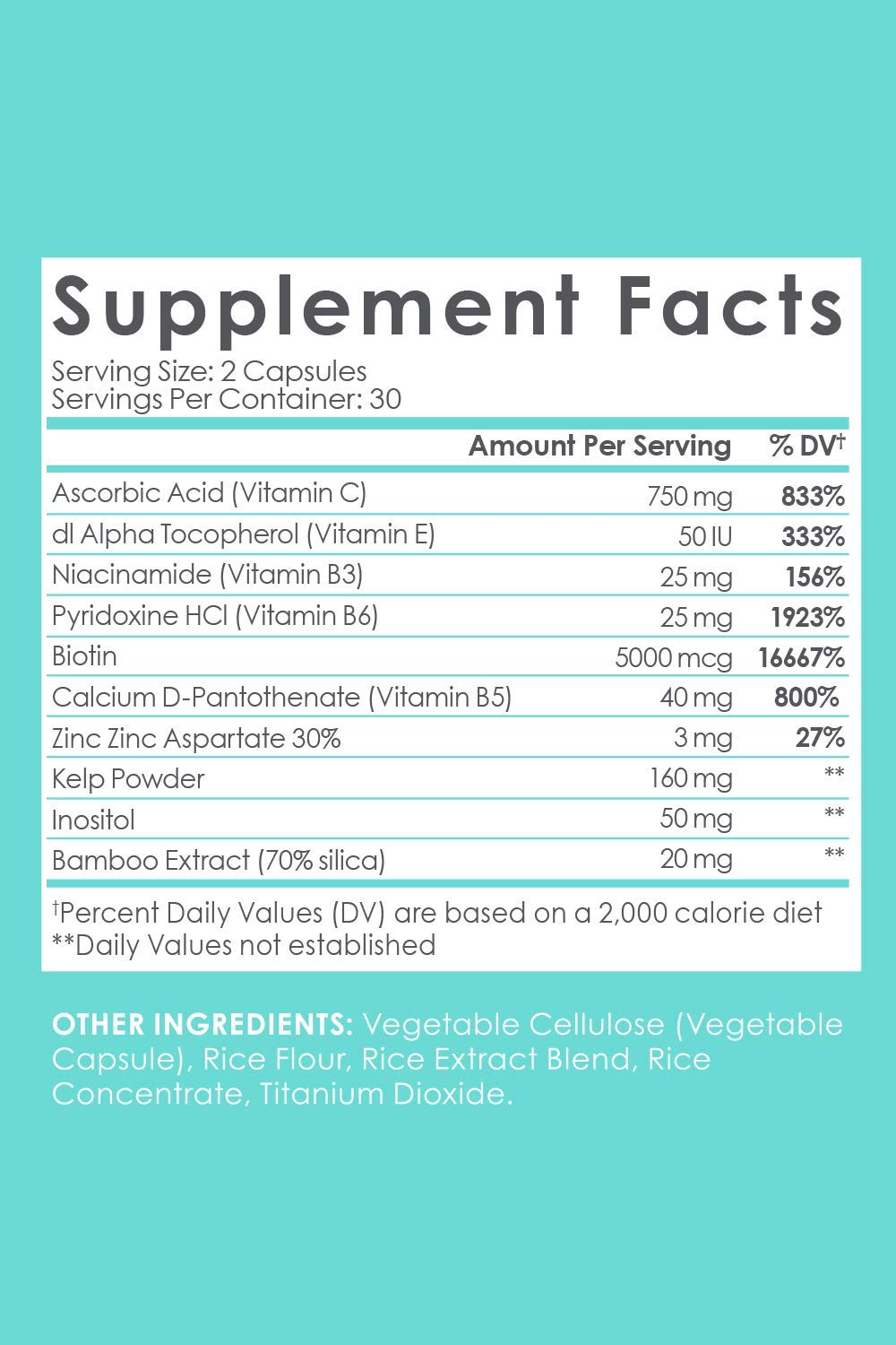 SkinnyFit Daily Glow: Hair, Skin and Nails Supplement for Radiant Skin, Stronger Hair and Nails with Biotin, Vitamins A, C and B (60 Capsules)