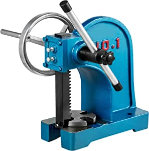 BestEquip Arbor Press 1 Ton,Ratchet Leverage Arbor Press 4-5/8 Inch Max. Working Height,with Handwheel Heavy Duty Manual Desktop Metal Arbor Press, for Riveting Punching Holes
