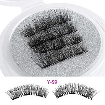 3529b627c16 Amazon.com : 1 Set Beauty Triple Magnetic False Eyelashes Full Coverage Glue -Free Lashes Cross Long Magnet Eye Lashes Make Up Extension Tools : Beauty