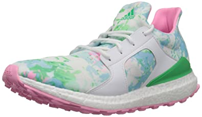 adidas Women's W Climacross Boost Golf Shoe, Ftwr White/Flash Lime Pink  Glow S