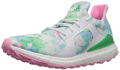 adidas Women's W Climacross Boost Golf Shoe, Ftwr White/Flash Lime Pink  Glow S