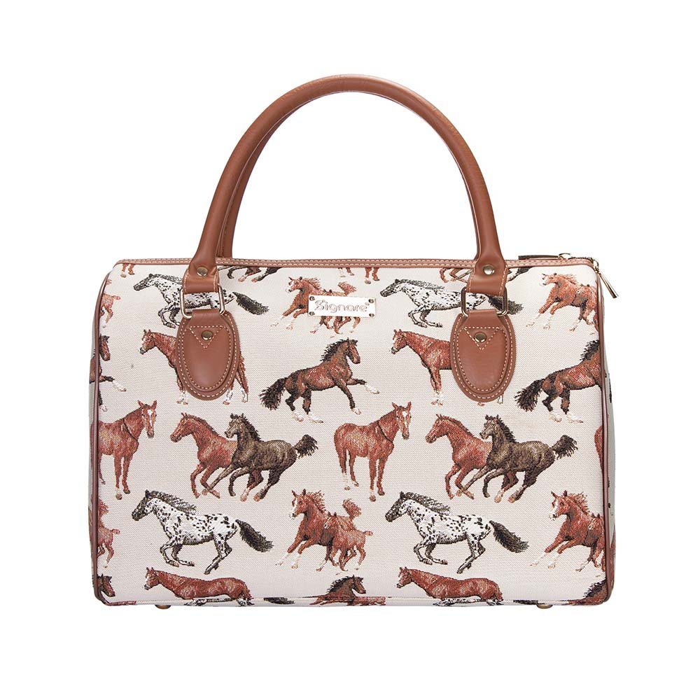 Running Horse Travel Bag by Signare/Ladies Top-Handle Flight Carry-On Weekend Travel Hand Luggage/TRAV-RHOR