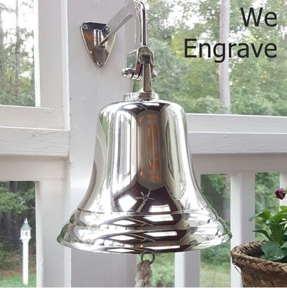 8 Inch Nickel Finish Ship Bell - with Engraving by Brass Bell