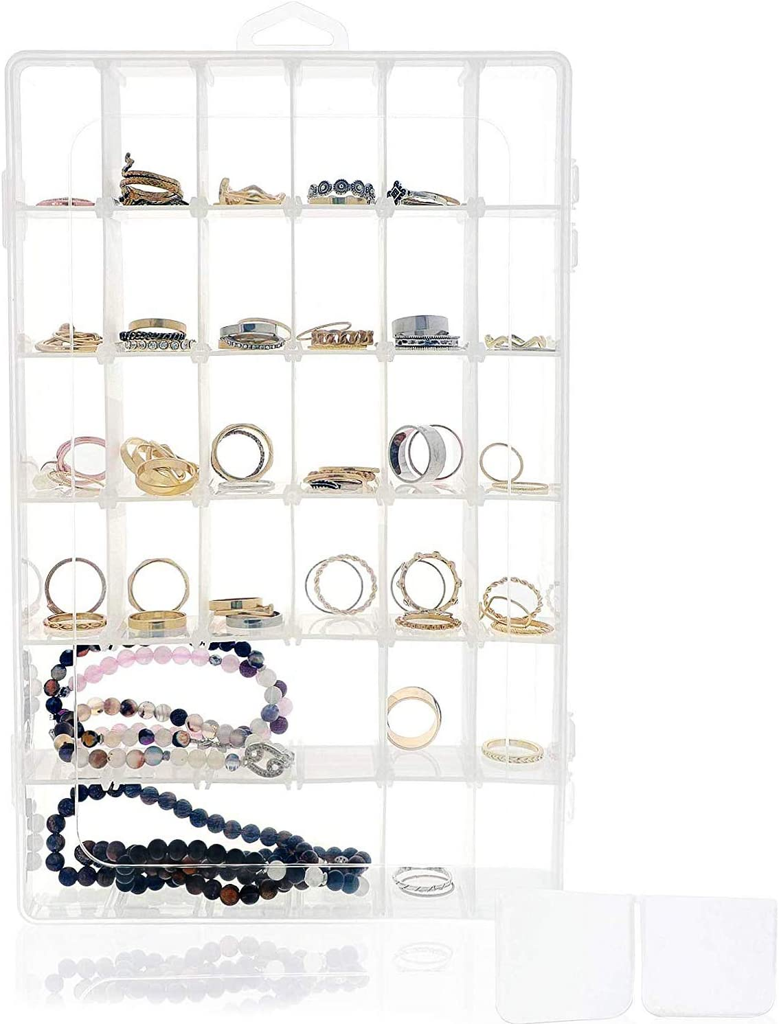 Caja de joyería transparente – contenedor de almacenamiento de cuentas de plástico, organizador de almacenamiento de pendientes con divisores ajustables, 36 rejillas, 26,7 x 4,3 x 17,8 cm