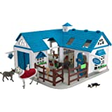 """Breyer Stablemates Deluxe Animal Hospital   10 Piece Set   1:32 Scale   11.25"""" L x 10.75""""W x 8"""" H   Model #59214"""