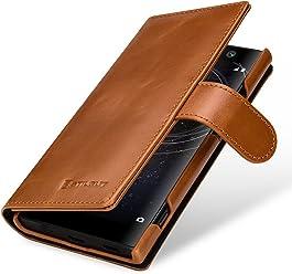 StilGut Housse pour Sony Xperia XA2 Porte-Cartes en Cuir véritable à Ouverture latérale et Languette magnétique, Cognac