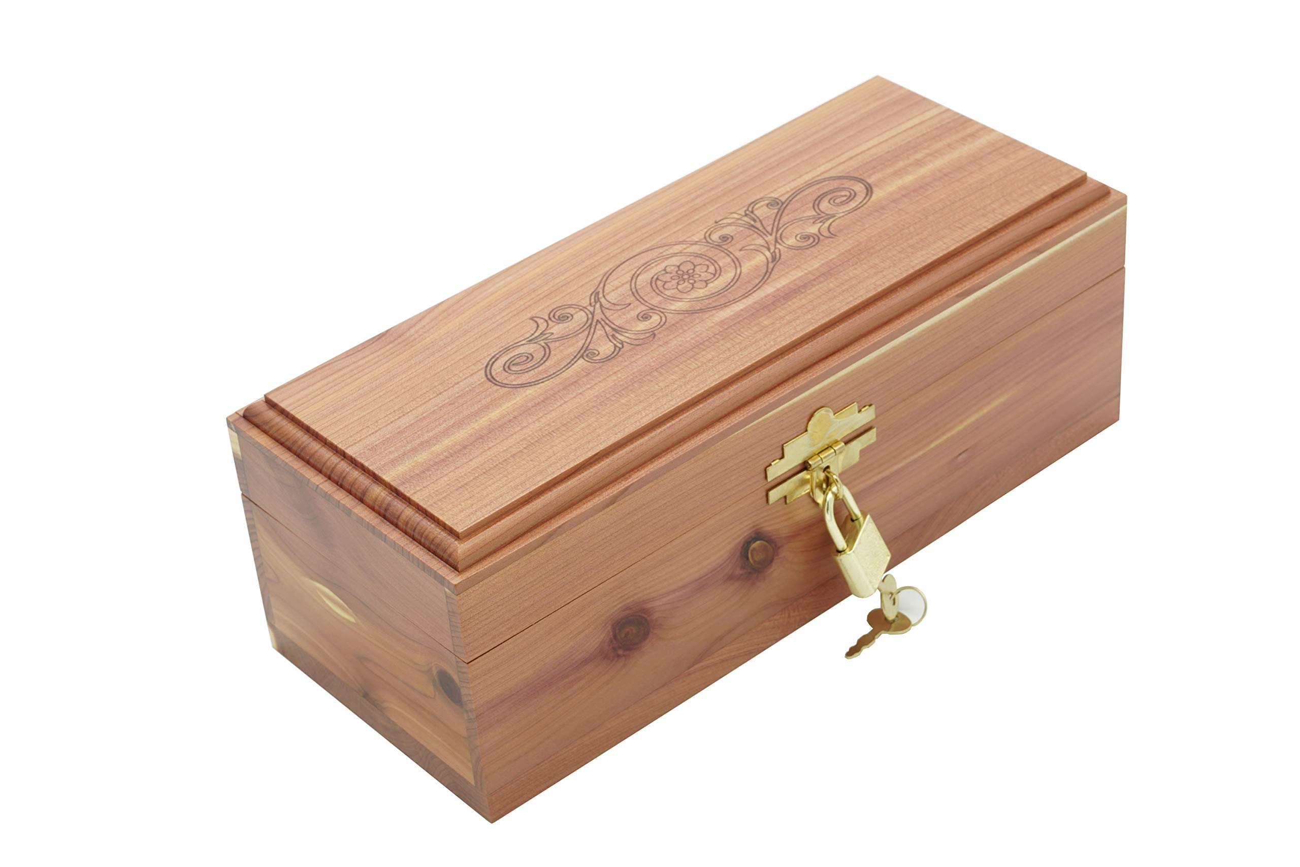 Cedar Essence Keepsake or Memory Box 9.5''L x 4''W x 3.5''H with Lock and Key with Design on top of the Lid