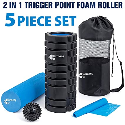 Harmony Fit 2-in-1 Trigger Point Foam Roller Set for Yoga, Stretching, After Exercise, and Back Pain