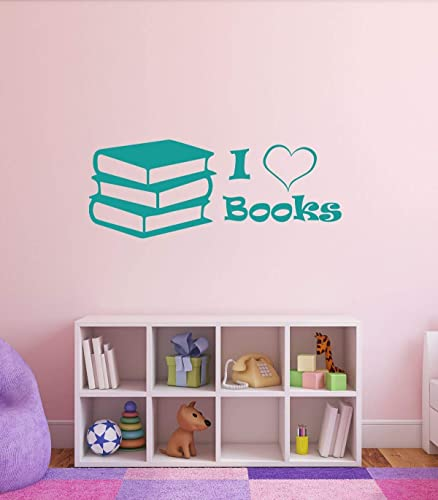Amazoncom I Love Books Quote Vinyl Wall Decal Childrens Library