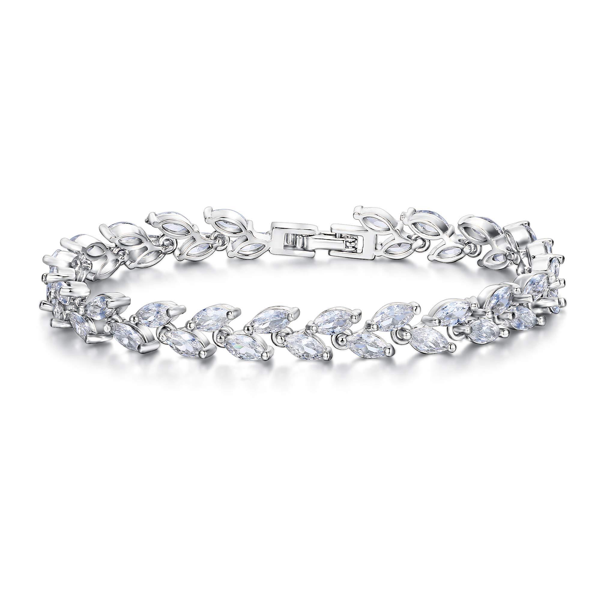 EVER FAITH Silver-Tone Zircon Wedding 2 Layers Small Leaf Roman Tennis Bracelet Clear by EVER FAITH