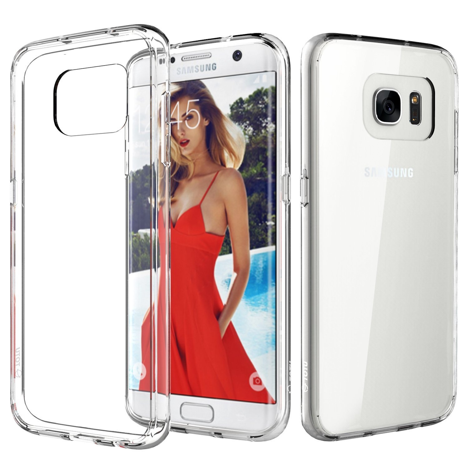 Galaxy S7 Edge Case TOTU [Crystal Clear] TPU Grip Bumper Transparent Back