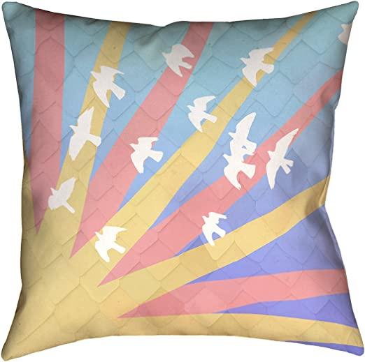 ArtVerse Katelyn Smith 16 x 16 Cotton Twill Double Sided Print with Concealed Zipper /& Insert Birds and Sunset Pillow