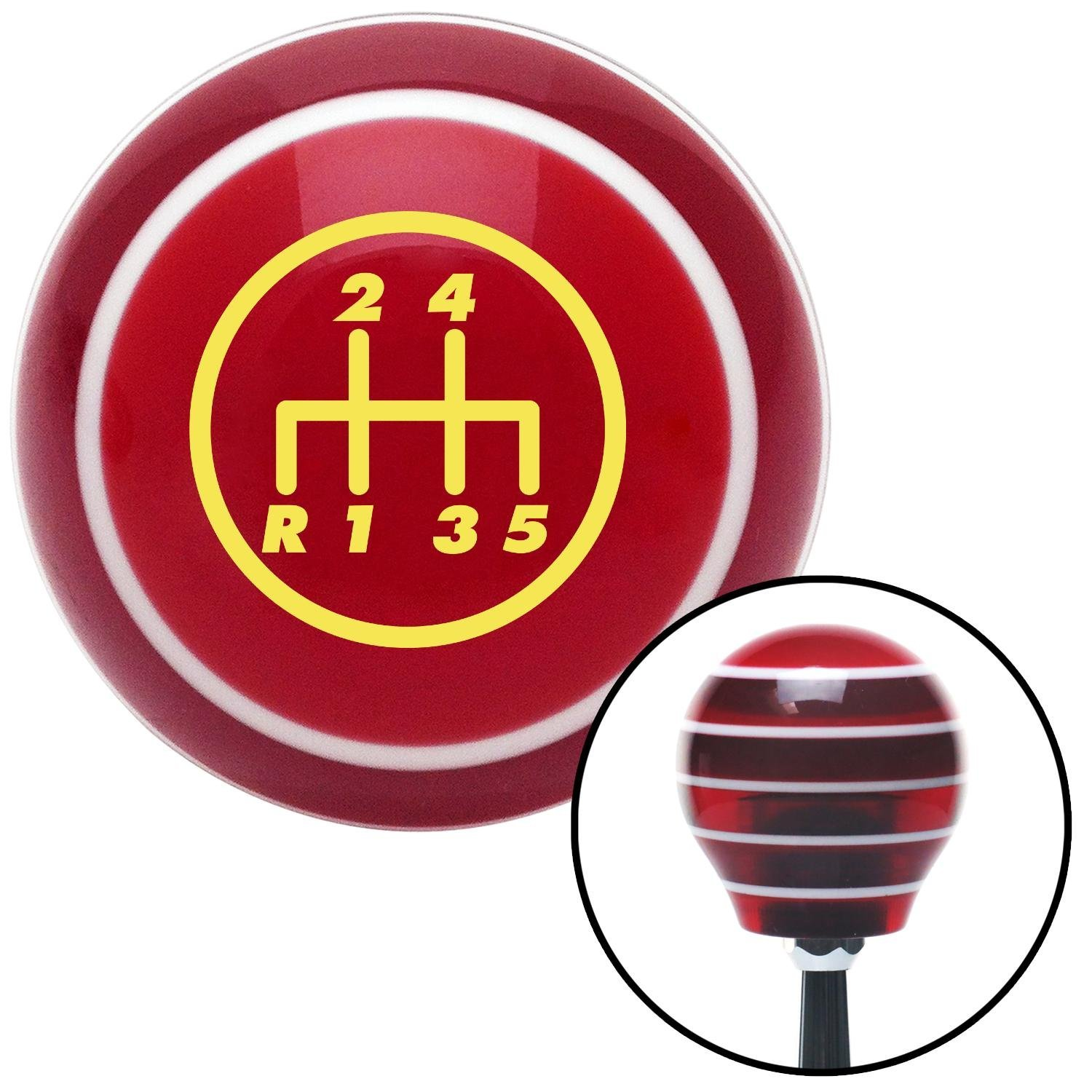 American Shifter 117316 Red Stripe Shift Knob with M16 x 1.5 Insert Yellow 5 Speed Shift Pattern - 5DR-RDL