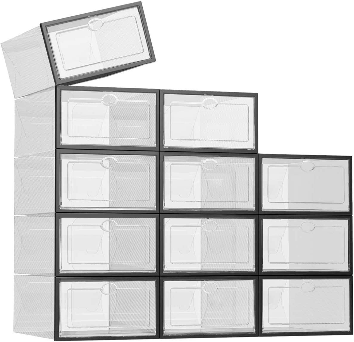 SEE SPRING 12 Pack Shoe Storage Box Shoe Box Clear Plastic Stackable Drop Front Shoe Organizer Space Saving Foldable Shoe Container Bin Fit up to US Size 9 (Black)
