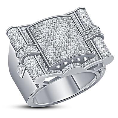 d2a025b9c8e0 Lilu Jewels - Anillo de compromiso para hombre de plata de ley 925 con  diamantes de imitación  Amazon.es  Joyería