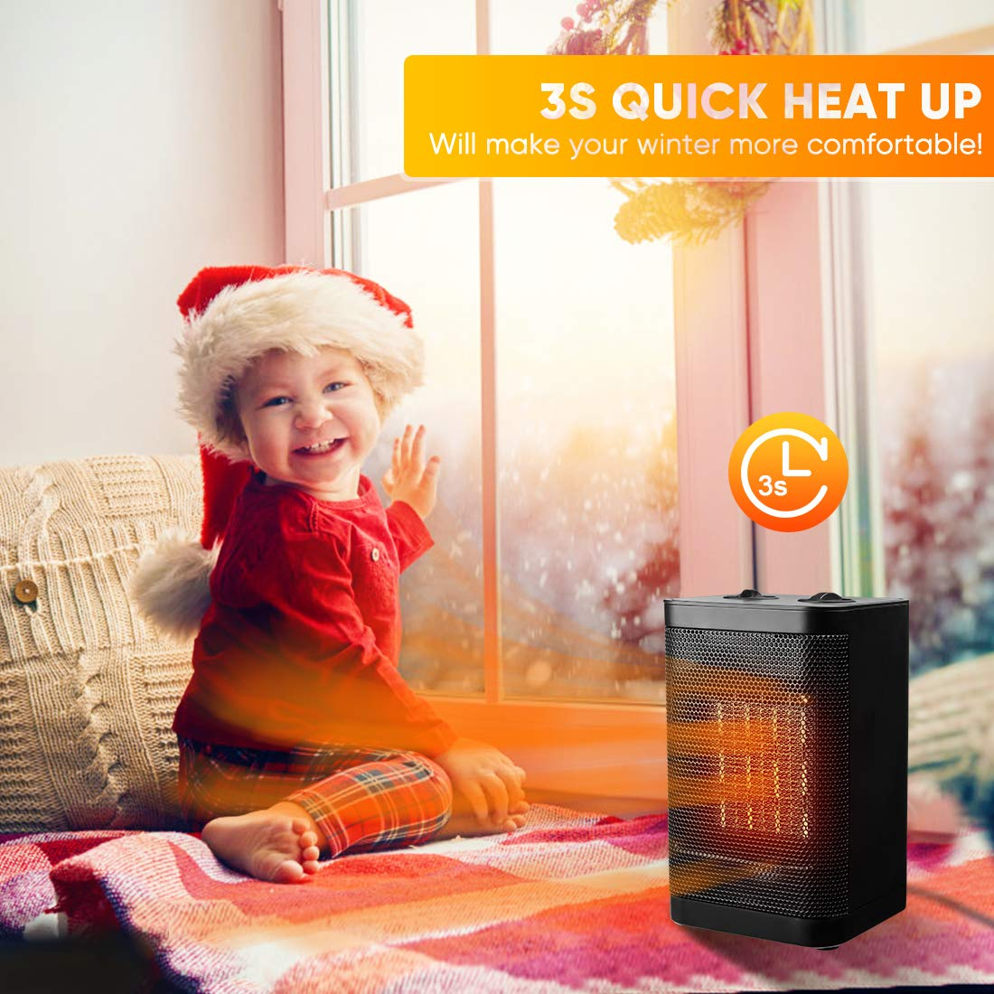 Space Heater Indoor Electric Heater - Portable Ceramic Personal Quiet Small Heater For Office, Home, Bedroom, Kids Room with Thermostat Tip-over & Overheat Auto-Off