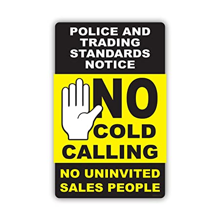 New no cold calling window sticker black yellow polite notice fully weatherproof sign