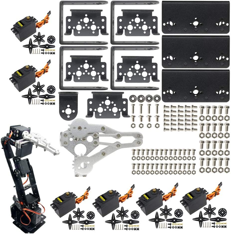 Dmyond DIY Aluminium Smart 6-Dof Robot Mechanical Arm Robotic Clamp Claw Kit with MG996R Servos 25T Metal Disc Horns and Screw for Arduino UNO MEGA2560 Learning (Robot Mechanical Arm+Servo)