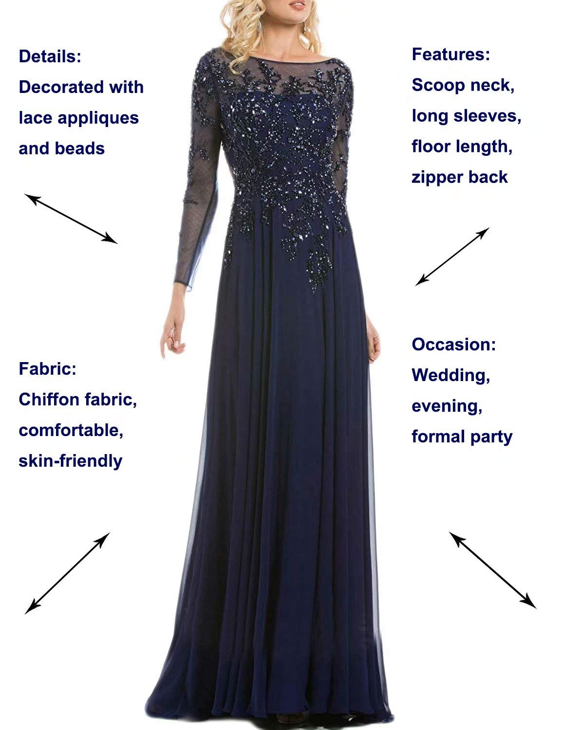 A Line Chiffon Plus Size Party Dresses 2019 Formal Ball Gown Manual Beaded  Long Sleeves Scoop Neck Full Length Evening Dress for Women Empire Waist ...