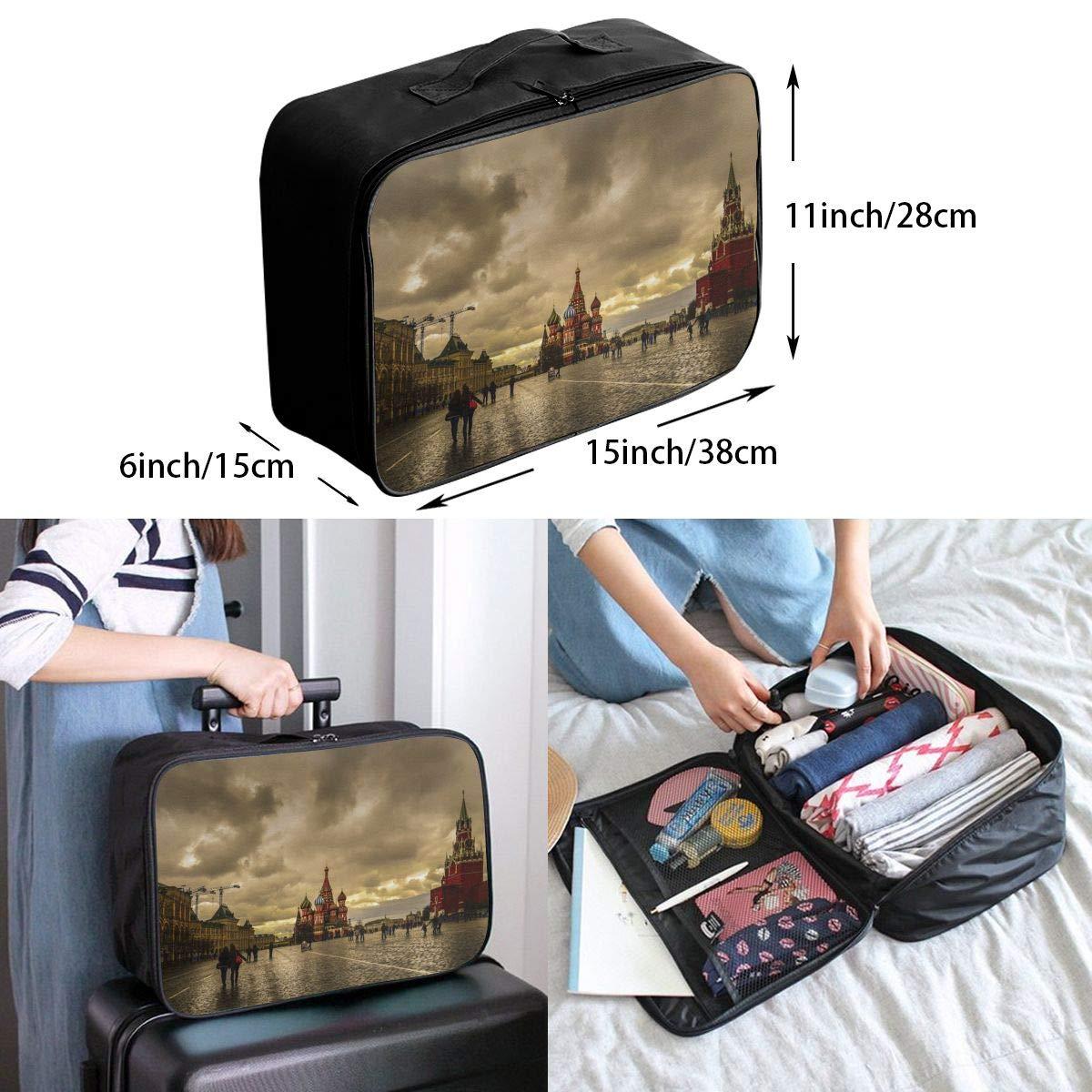 Travel Luggage Duffle Bag Lightweight Portable Handbag Red Square Pattern Large Capacity Waterproof Foldable Storage Tote