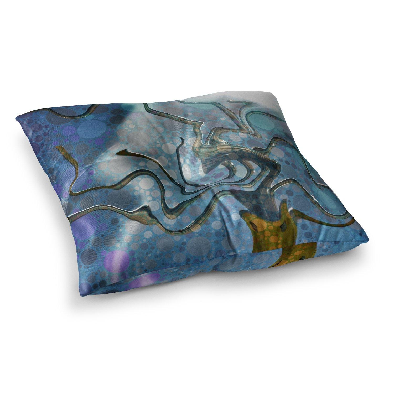 Kess InHouse AlyZen Moonshadow WONKY Blue White 23 x 23 Square Floor Pillow