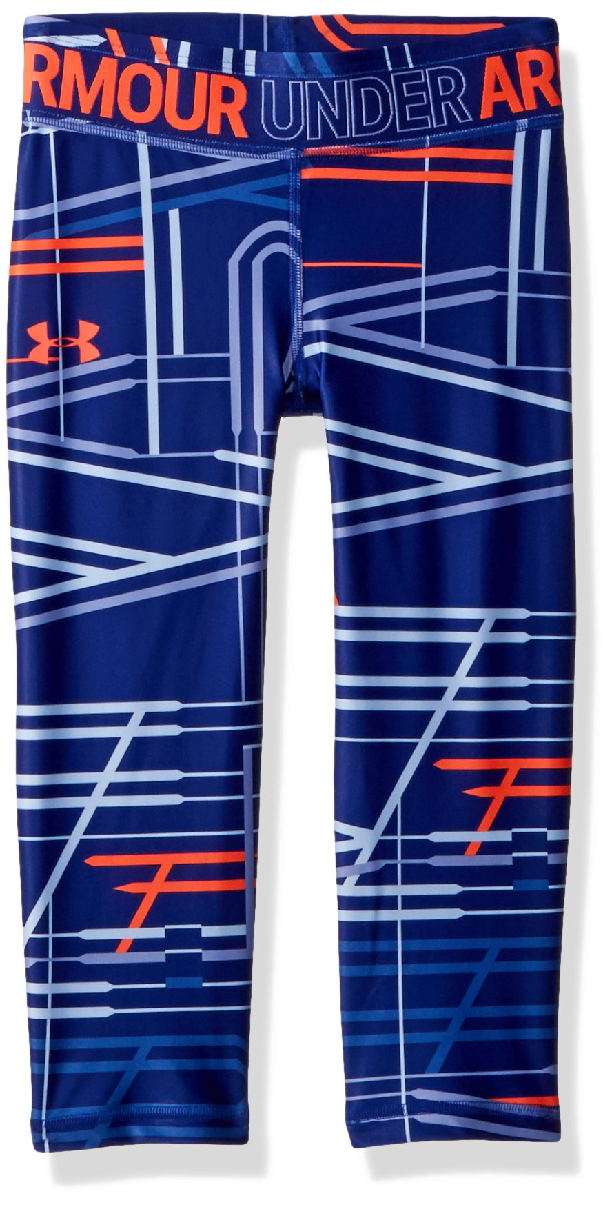 Under Armour Girls' HeatGear Armour Novelty Capris, Formation Blue (574)/Neon Coral, Youth X-Small