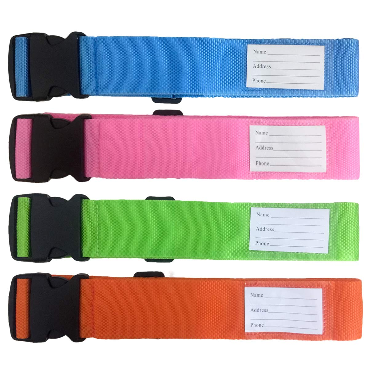 4-Pack Luggage Straps Suitcase Belt and Tag Travel Bag Accessories 4 Colors