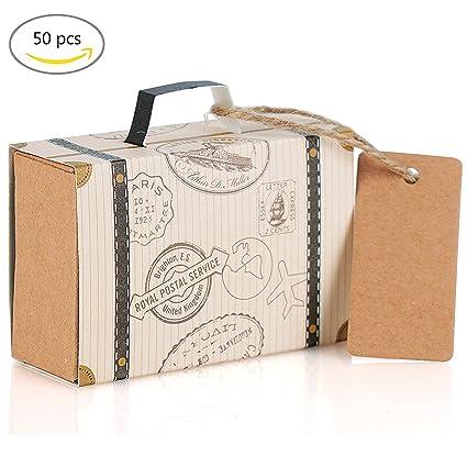 Cajas para Dulces Bombones Caja Kraft de Boda Regalo, Ouinne 50 PCS Mini Maleta Boda