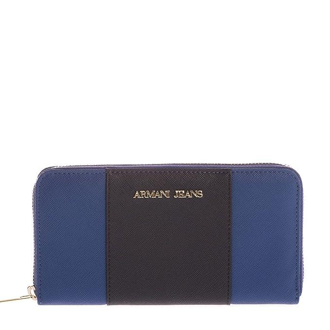 Armani Jeans Monedero bicolor de cuero del faux única Talla 18 BLU ROYAL