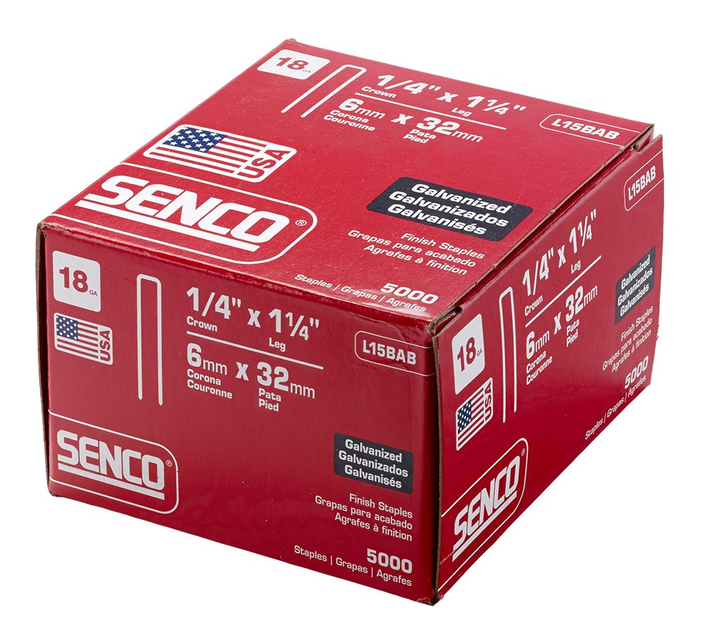 Senco L15BAB 18 Gauge by 1/4-inch Crown by 1-1/4-inch Length Electro Galvanized Staples (5,000 per box)
