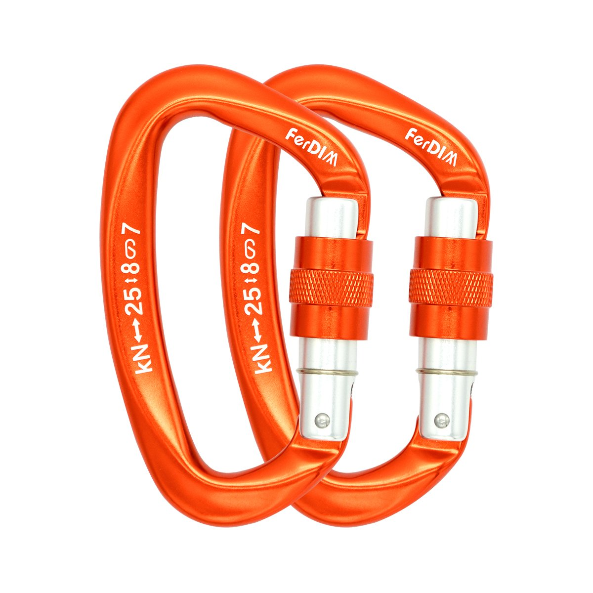 FerDIM 25KN Rock Climbing Carabiner, D-Shaped Hot-Forged Magnalium Locking Climbing Hook Holds 5511lbs with Screwgate Clip Climber Hiking Karabiner Outdoor Sport Tools CE Certified (Orange, 2/Pack)