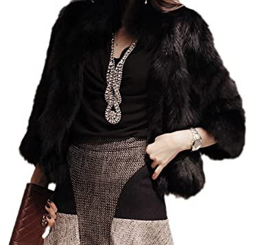 d8fe8a64a0e3 Women s Elegant Short Faux Fur Coat Winter Warm Fur Jacket Overcoat  Outerwear (US 0-