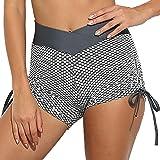AGUTIUN Pantalones cortos de entrenamiento de cintura alta para mujer, pantalones cortos de levantamiento de glúteos, pantalo