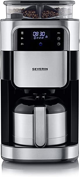 Severin KA 4814 - Cafetera con molinillo y jarra termo,1000 W, 1 L, color acero inoxidable cepillado y negro: Amazon.es: Hogar