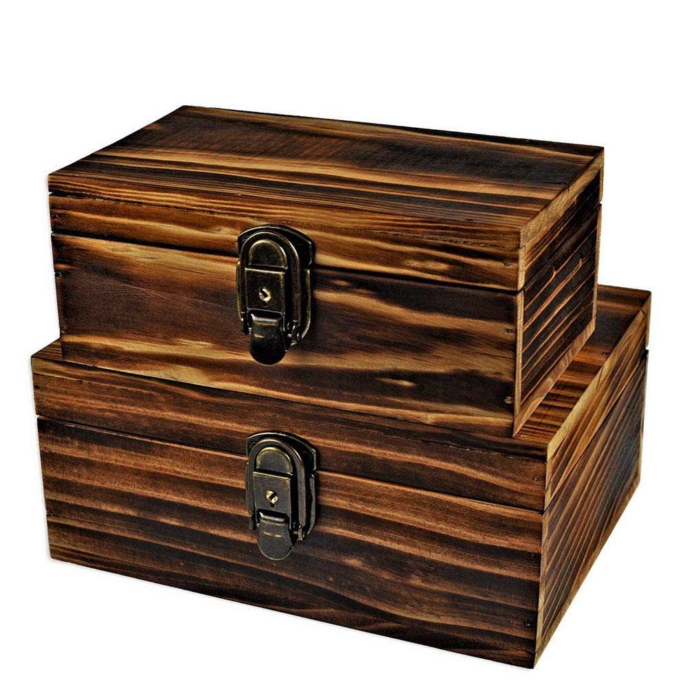 2 Sets Jewelry Box,Wooden Storage Box,Icefire Handcraft Wood Box Kit,Case Cabinet Container with Lock and Key Rustic Western for Keepsake,Photo,Trinket,Letter,Document Organizer (Retro yellow) by Icefire