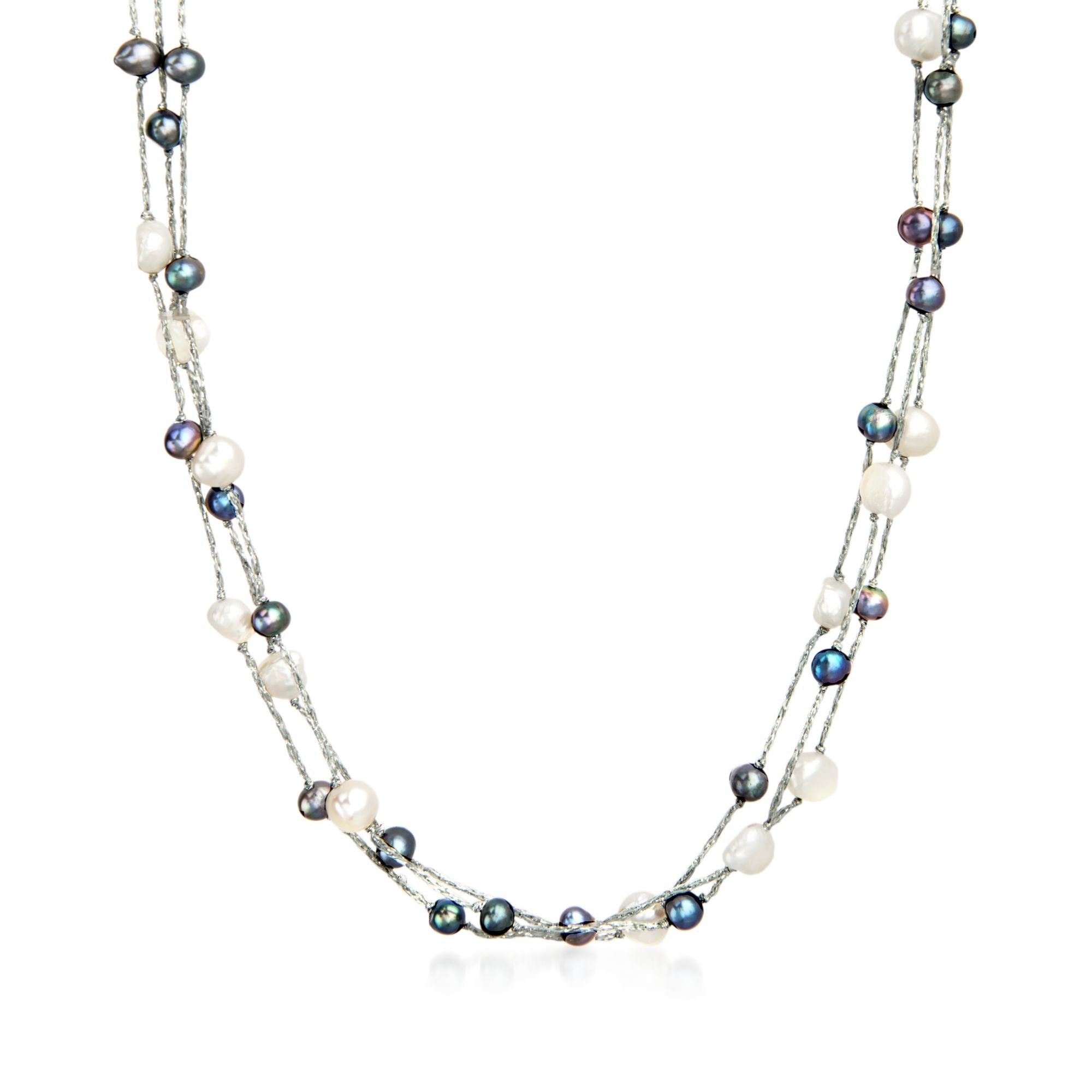 1152806c51a05 Ross-Simons 5-9mm Black and White Cultured Pearl Three-Strand ...