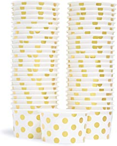 Paper Ice Cream Cups - 50-Count 5.5-Oz Disposable Dessert Bowls for Hot or Cold Food, 5.5-Ounce Party Supplies Treat Cups for Sundae, Frozen Yogurt, Soup, Gold Foil Polka Dots