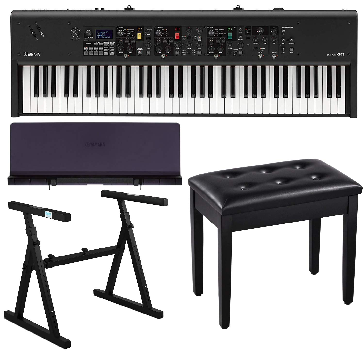 Yamaha CP73 73-Key Stage Piano Bundle with Heavy Duty Z-Stand, Black Padded Piano Bench with Storage and Music Rest by Yamaha-Keyboards