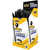 BIC Cristal Large Ball Pens Wide Point (1.6 mm) - Black, Box of 50