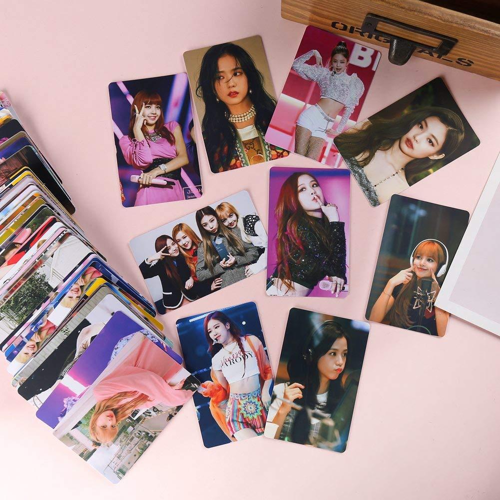 adesivi angolari Blackpink GOTH Perhk 100PCS Kpop Twice NCT127 IZONE BTS nero rosa cartoline 7,6 cm foto Lomo Polaroid foto inviare clip corda di canapa puntine