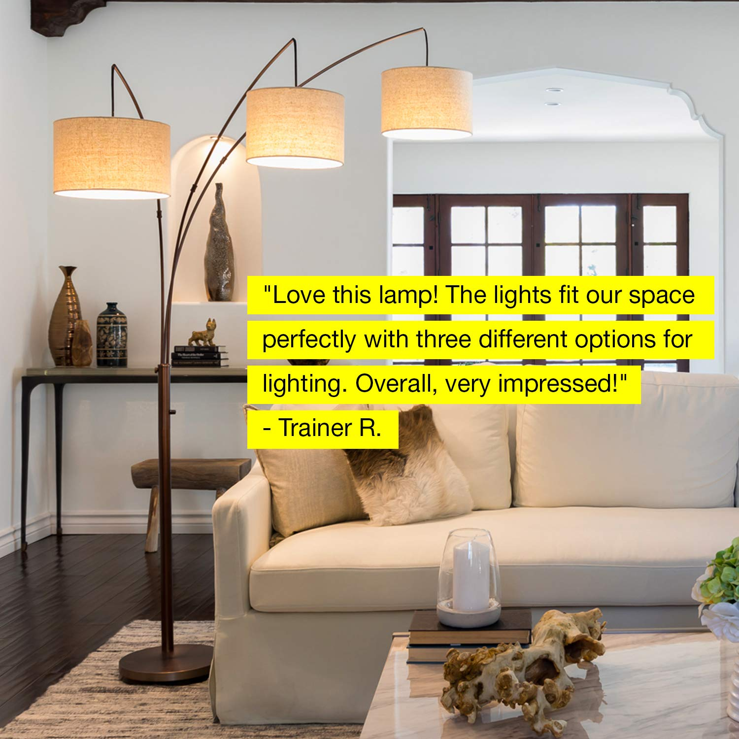 Brightech Trilage - Modern LED Arc Floor Lamp with Marble Base - Free Standing Behind The Couch Lamp for Living Room - 3 Hanging Lights, Great for Reading - Oil Rubbed Bronze by Brightech (Image #4)