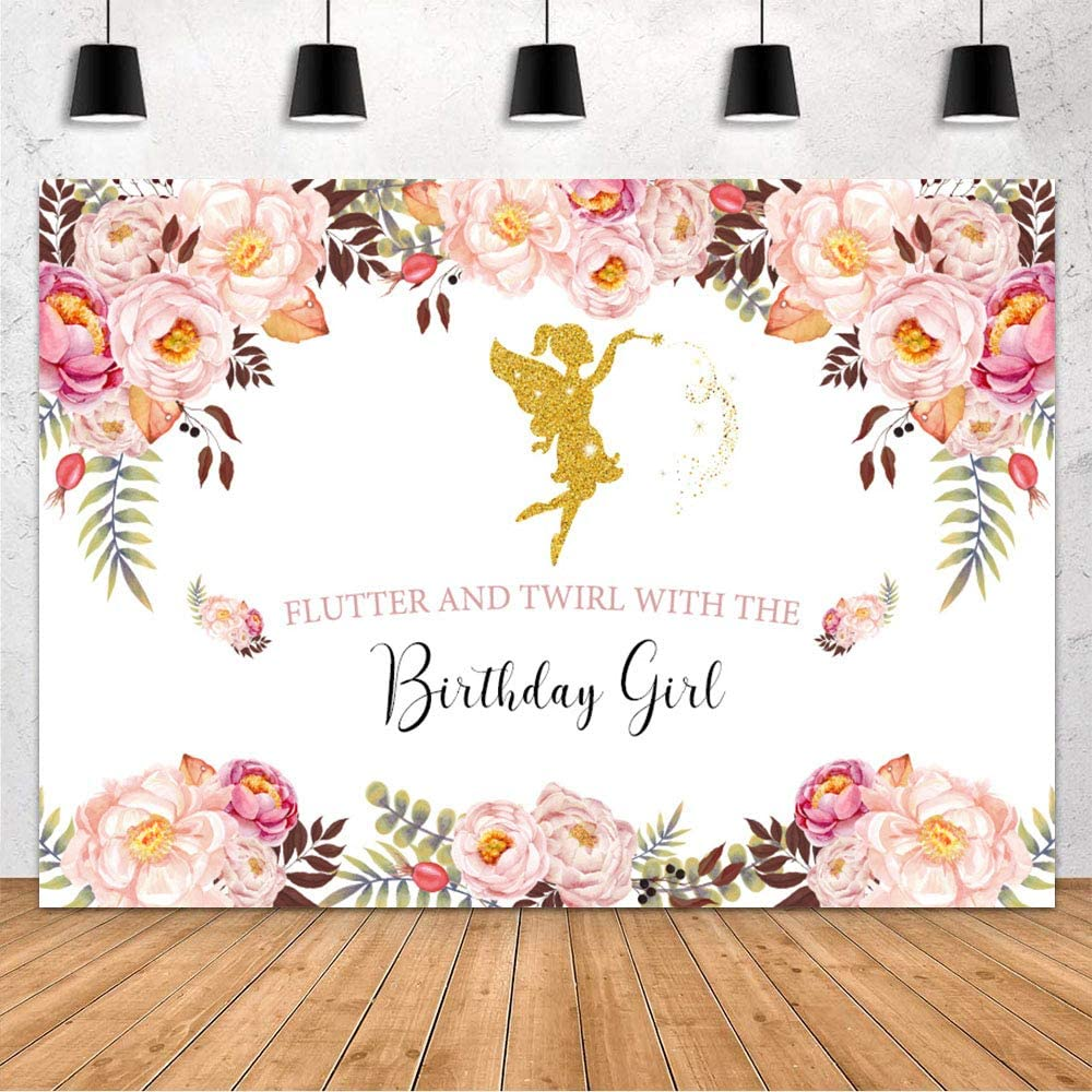 MOHOFOND Girl Birthday Backdrop Decoration Pink Floral Flower Fairies Princess Spring Garden Party Flutter and Twirl with The Birthday Girl Photography Background Cake Table Banner Vinyl 7x5ft